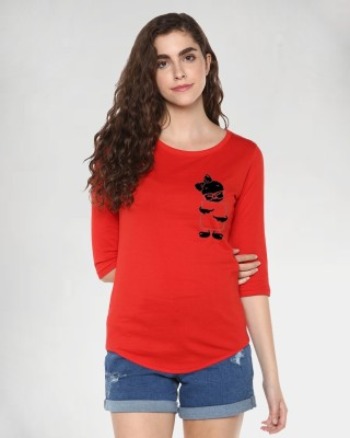 Young Trendz Solid Women Round Neck Red T-Shirt