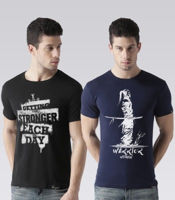 Young Trendz Graphic Print Men Round or Crew Black, Dark Blue T-Shirt(Pack of 2)