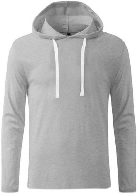 Himgiri International Solid Men Hooded Grey T-Shirt