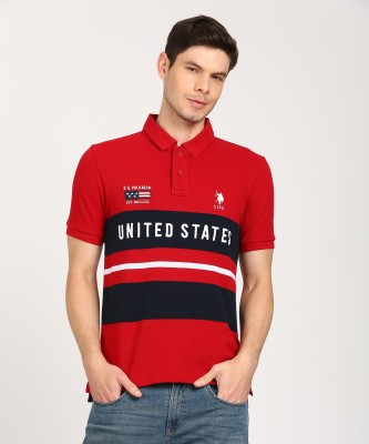 Arrow Sport Printed Men Polo Neck Red T-Shirt