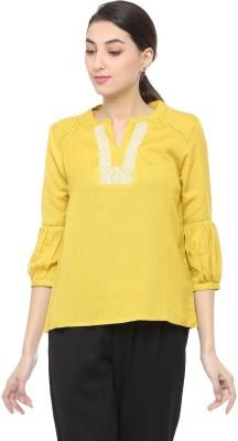 People Casual 3/4 Sleeve Self Design Women Yellow Top