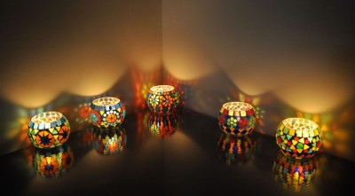 Lal Haveli Home Decoration Diwali Light Night Candle Stand 5 Glass Tealight Holder Set(Multicolor, Pack of 5) at flipkart