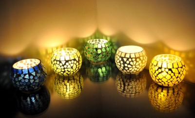 Lal Haveli Home Decoration Diwali Light Tealight Stand 5 Glass Candle Holder Set(Multicolor, Pack of 5) at flipkart