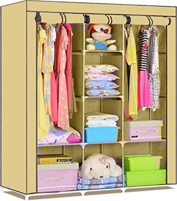 Continental 6 + 2 Shelves 3 Door 88130 Beige Fold Able Wardrobe PP Collapsible Wardrobe