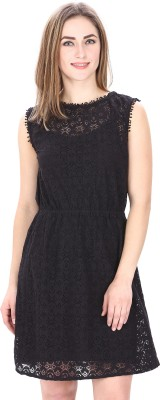 MansiCollections Women Fit and Flare Black Dress