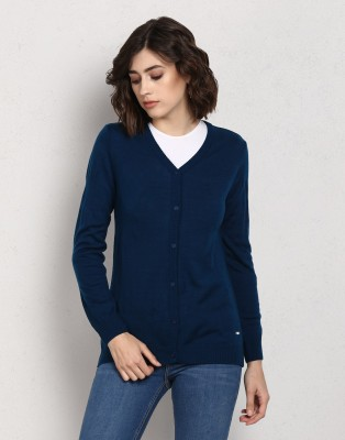 Metronaut Solid V-neck Casual Women Blue Sweater