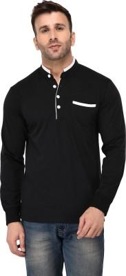 Vivid Bharti Solid Men Mandarin Collar Black T-Shirt