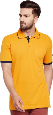 The Dry State Solid Men Polo Neck Yellow, Black T-Shirt