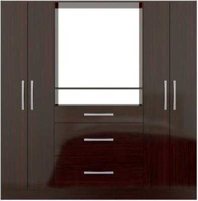 Furn Central Fushi Engineered Wood 4 Door Wardrobe(Finish Color - Mahogany Glossy)