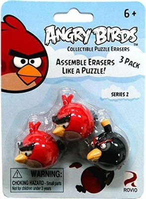 Angry Birds Eraseez Collectible Puzzle Eraser 3Pack 2 Red 1 Black