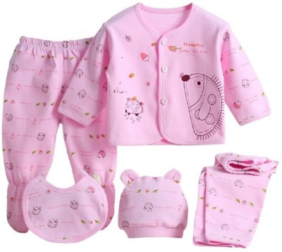 Icable Kids Nightwear Boys & Girls Graphic Print Polycotton(Pink Pack of 5)