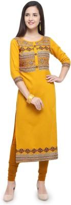 Shopping Queen Casual Printed Women Kurti(Yellow)