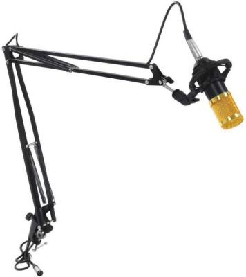 Techtest BM-800 Condenser Microphone (Gold) + Microphone Arm Stand (BLACK), Microphone With Stand, Microphone For Recording Microphone With Stand(Golden & Black)