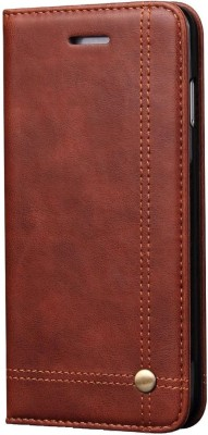 Cubix Book Cover for Apple iPhone 7 & iPhone 8(Brown, Holster)