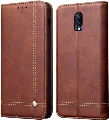 Cubix Book Cover for Oneplus 6T & One plus 6T(Brown, Holster)