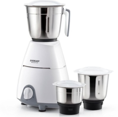 Eveready Present stylish mixer with 3 Jar Moler DX 500 Juicer Mixer Grinder(White, 3 Jars)