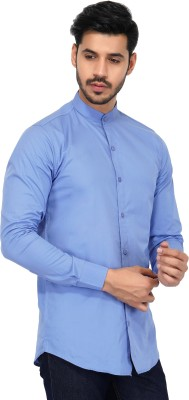 U TURN Men Solid Party Blue Shirt at flipkart
