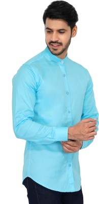 U TURN Men Solid Party Light Blue Shirt