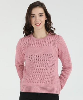 Modeve Checkered Round Neck Casual Women Red Sweater