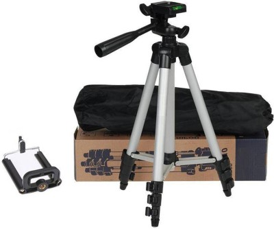 Oxhox Tripod-3110 Portable Adjustable Aluminum Lightweight Camera Stand With Three-Dimensional Head & Quick Release Plate For Video Cameras and mobile Tripod Tripod (Black, Silver, Supports Up to 1000 g) Tripod(Silver, Black, Supports Up to 1500)