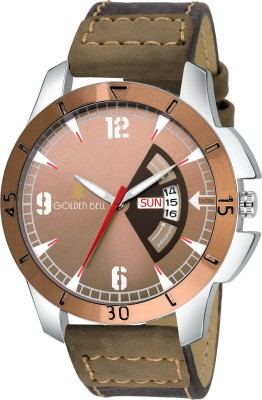 Golden Bell GB-1161 Classic Day & Date Brown Dial Brown Genuine Leather Strap Wrist Watch  - For Men