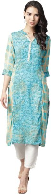 Shree Women Abstract, Chikan Embroidery, Embroidered Straight Kurta(Blue, Beige)