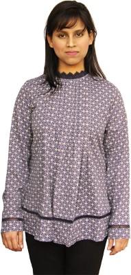Harbinger Designs Formal Full Sleeve Geometric Print Women Blue Top