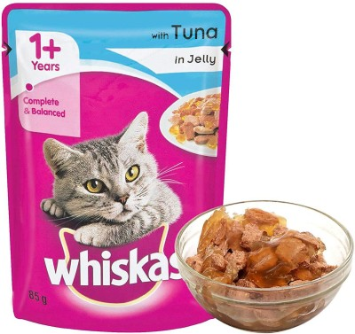 Whiskas Whiskas Adult Wet Cat Food, Tuna in Jelly – 85 g (1.02 kg, 12 Pouches) Tuna 1.02 kg Wet Cat Food(Pack of 12)