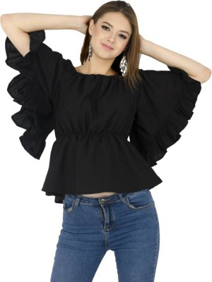Rays Casual Butterfly Sleeve Solid Women Black Top