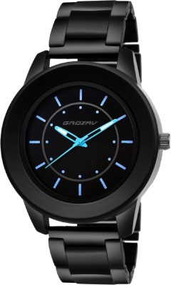 Grozav Black Analog Round Dial With Sky Blue Hands and Stylish Black Metal Strap 910703BK_C_1BK Watch  - For Men