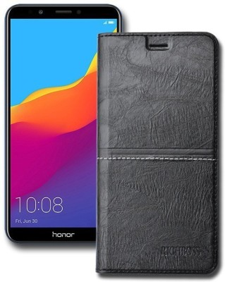 Marshland Flip Cover for Honor 7C, Leather Inner Soft Silicon Wallet Design with Kickstand, Black(Black, Dual Protection)