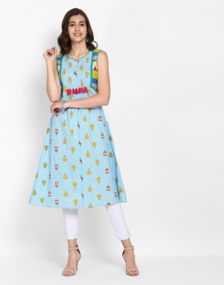 Anmi Geometric Print Women A-line Kurta(Multicolor) at flipkart