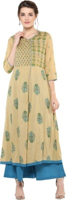 Akshat International Festive & Party Printed Women Kurti(Gold)