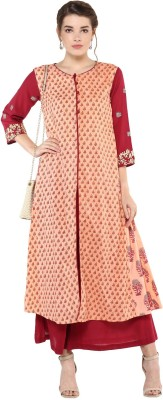 JT International Casual Printed Women Kurti(Maroon, Grey)