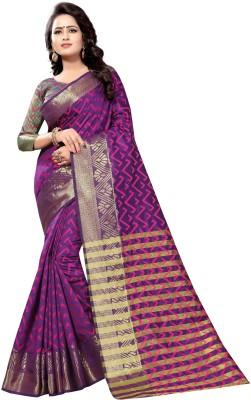 INDIAN CULTURE Self Design Kanjivaram Cotton Silk Saree(Multicolor)