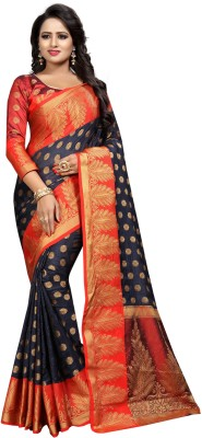INDIAN BEAUTIFUL Embellished Chanderi Cotton Silk Saree(Dark Blue)