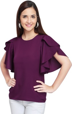 Oomph! Casual Butterfly Sleeve Solid Women's Purple Top
