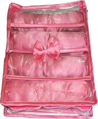 SAROHI 4 roll rod satin bangle case bangle storage box jewellery box transparent clear plastic bangle box Vanity Box CHURUE CASE Vanity Box(Pink)