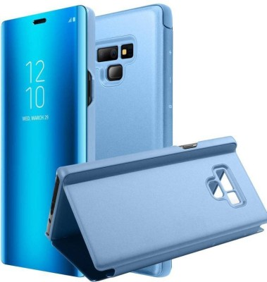AXXEUM Flip Cover for Mirror Clear View Flip Phone Back Case for Samsung Galaxy Note9 (Non-Sensor Blue)(Blue, Holster)