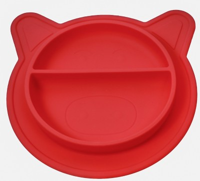 KuchiKoo Silicone Place mat - Baby Plate- Anti Spill - Sticks to Table - Baby Place mat Baby plate Baby Tableware 100% NON Toxic and BPA Free  - Silicone(Red)