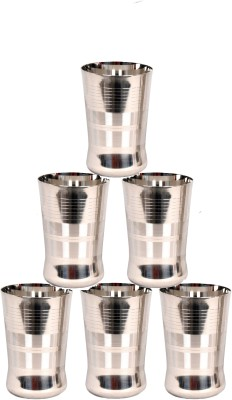 LiMETRO Stainless Steel Serving Glasses, Multi Purpose, Unbreakable Water Drinking Glasses Set - G3-6 Glass Set(Steel, 350 ml, Steel, Pack of 6)