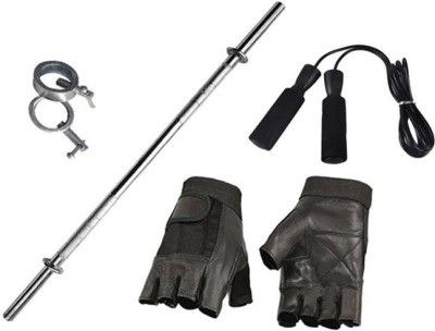 N.VCOMMUNICATION24X7 BEST COMBO OF 3FT STRAIGHT ROD GYM GLOVES AND SKIPPING ROPE Gym & Fitness Kit