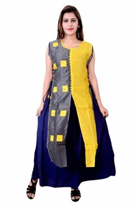 Shurams Festive & Party Solid, Solid, Novelty, Colorblock, Block Print, Embellished, Embroidered Women