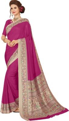 Yetnik Printed Bollywood Cotton Silk Saree Pink, Beige