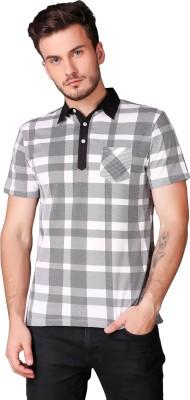 Le Bourgeois Checkered Men Polo Neck White, Black T-Shirt