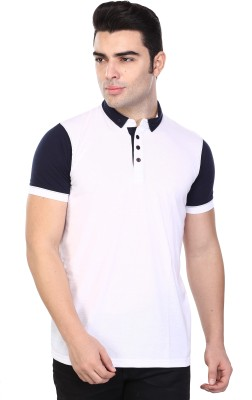 Unisopent Designs Solid Men Polo Neck White T Shirt