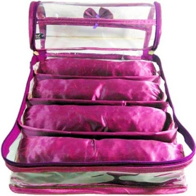 SAROHI 4 roll rod satin bangle case bangle storage box jewellery box transparent clear plastic bangle box Vanity Box CHURUE CASE Vanity Box(Purple)