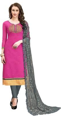 NITYAA Cotton Blend Embroidered, Self Design, Solid, Embellished Kurta & Churidar Material(Semi Stitched)