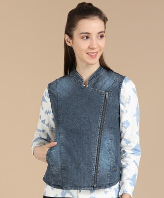 Pepe Jeans Sleeveless Solid Women Jacket at flipkart