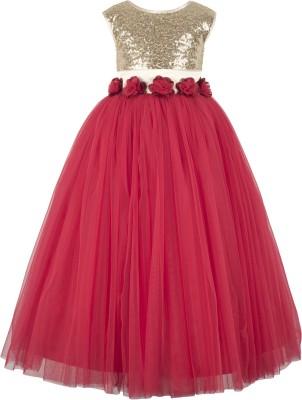 Tizarat Girls Maxi/Full Length Festive/Wedding Dress(Multicolor, Sleeveless)